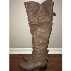 Tan Knee High Fashion Boots